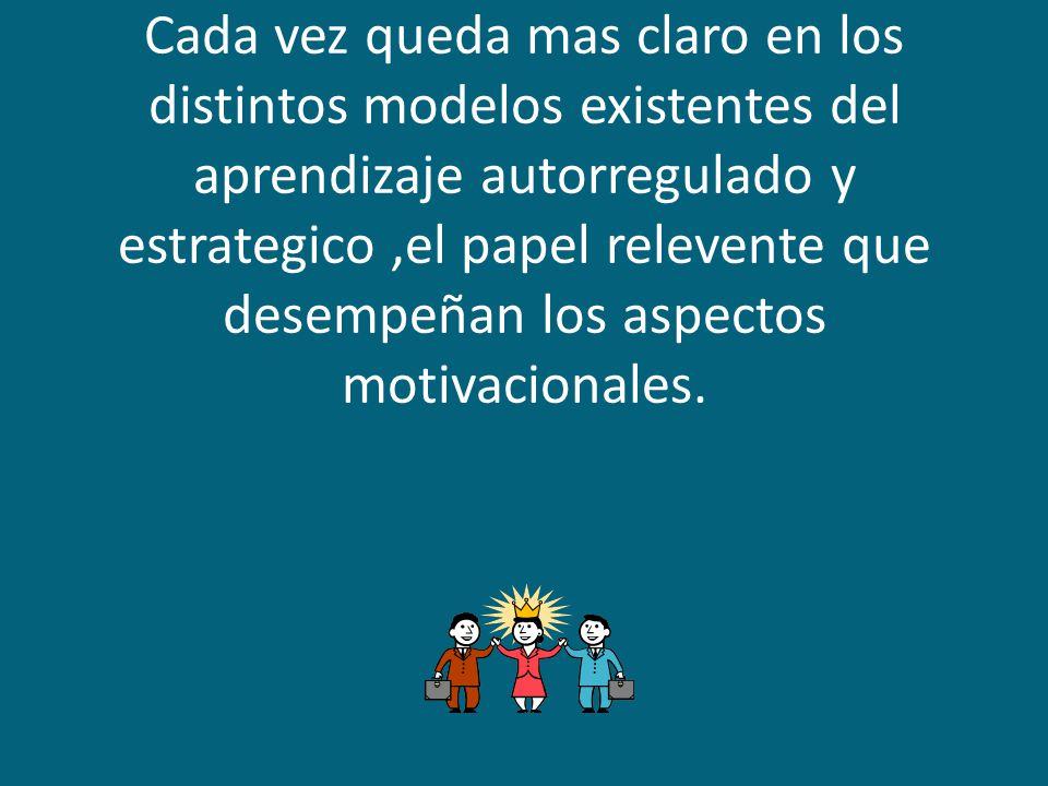 Cada vez queda mas claro en los distintos modelos existentes del aprendizaje autorregulado y estrategico ,el papel relevente que desempeñan los aspectos motivacionales.