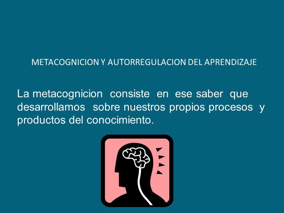 METACOGNICION Y AUTORREGULACION DEL APRENDIZAJE La metacognicion consiste en ese saber que desarrollamos sobre nuestros propios procesos y productos del conocimiento.