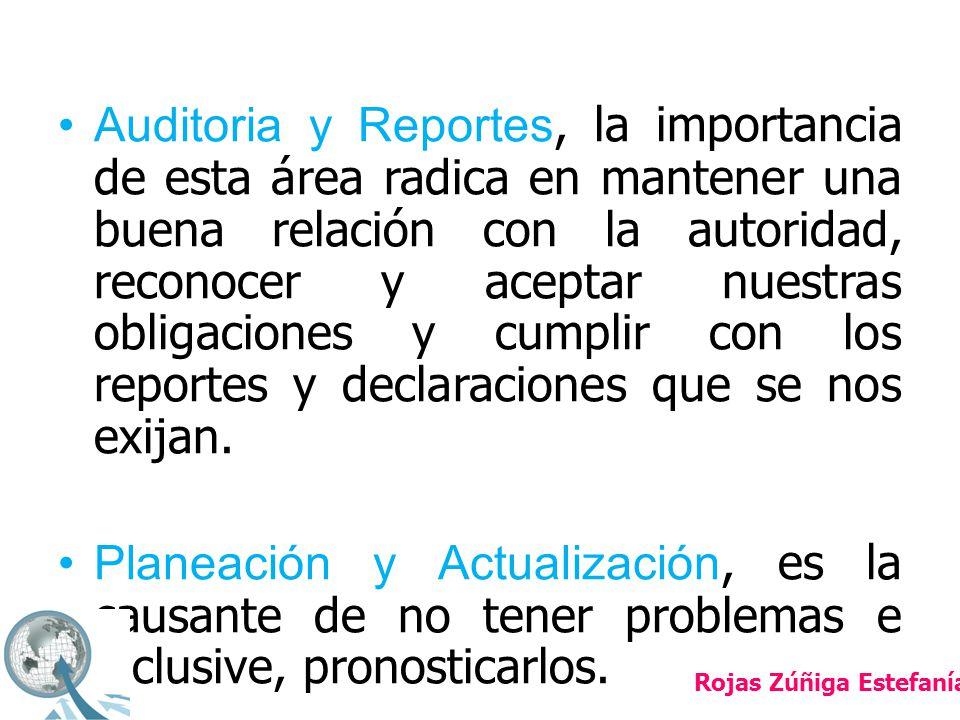 Auditoria y Reportes, la importancia de esta área radica en mantener una buena relación con la autoridad, reconocer y aceptar nuestras obligaciones y cumplir con los reportes y declaraciones que se nos exijan.