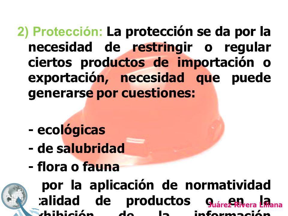 2) Protección: La protección se da por la necesidad de restringir o regular ciertos productos de importación o exportación, necesidad que puede generarse por cuestiones: