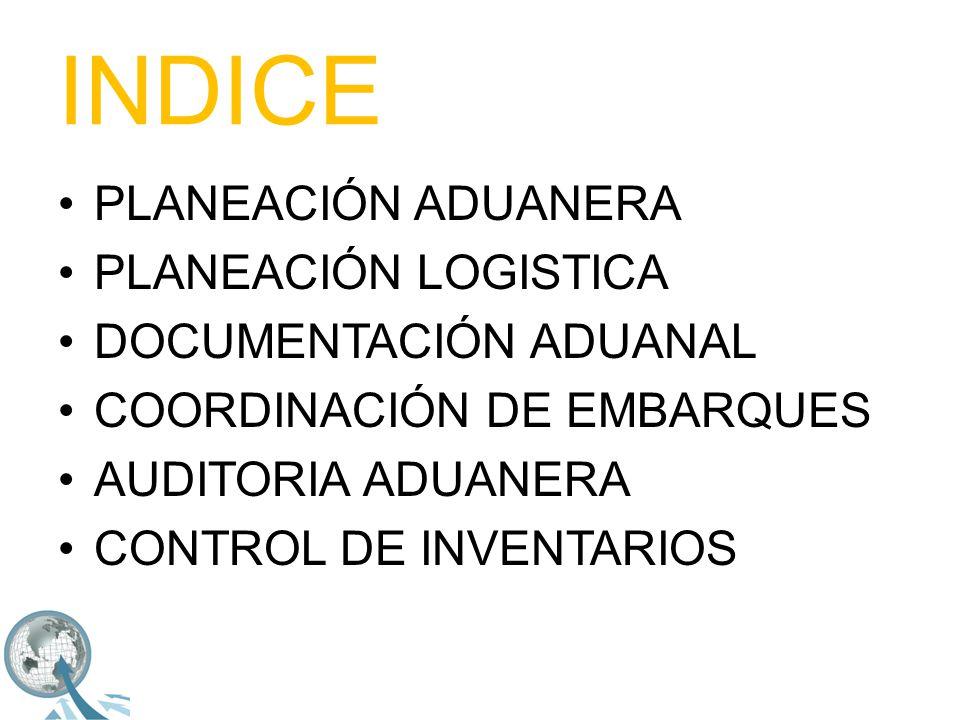 INDICE PLANEACIÓN ADUANERA PLANEACIÓN LOGISTICA DOCUMENTACIÓN ADUANAL