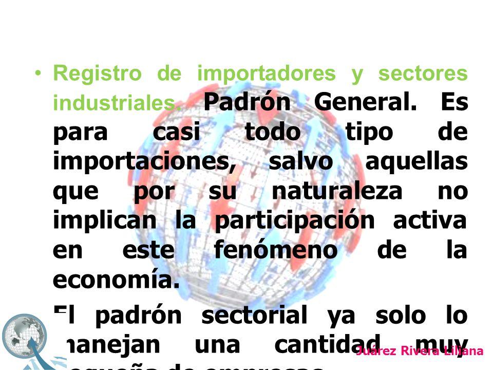 Registro de importadores y sectores industriales. Padrón General