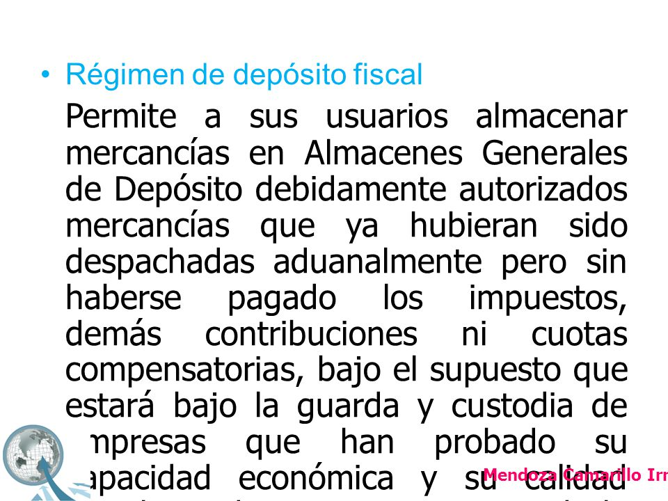 Régimen de depósito fiscal