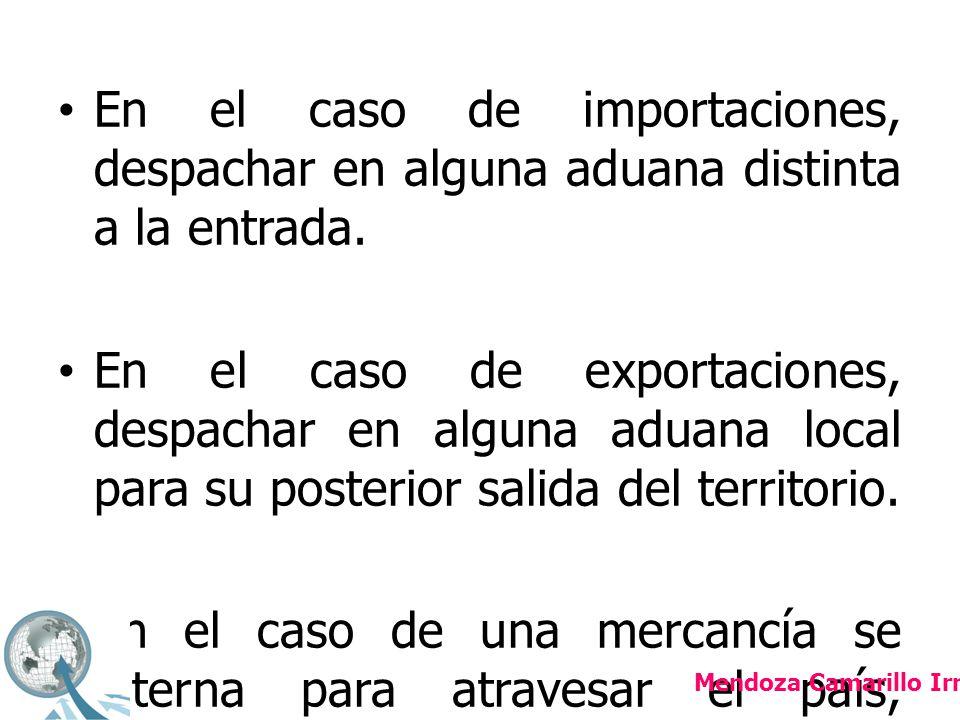 En el caso de importaciones, despachar en alguna aduana distinta a la entrada.