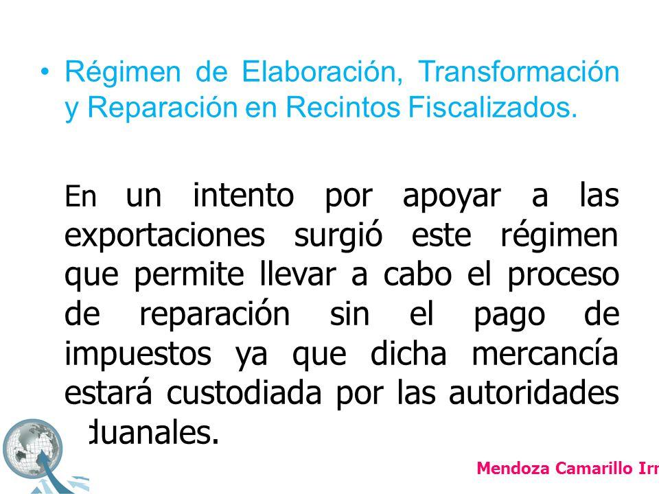 Régimen de Elaboración, Transformación y Reparación en Recintos Fiscalizados.