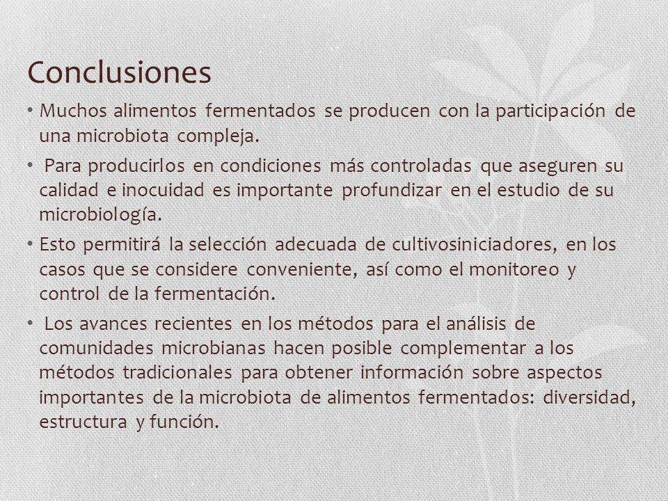 Conclusiones Muchos alimentos fermentados se producen con la participación de una microbiota compleja.
