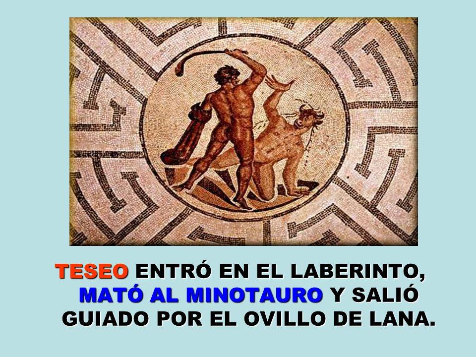 TESEO ENTRÓ EN EL LABERINTO, MATÓ AL MINOTAURO Y SALIÓ GUIADO POR EL OVILLO DE LANA.