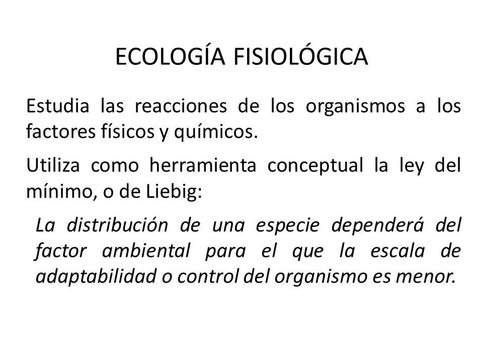 ECOLOGÍA FISIOLÓGICA Estudia las reacciones de los organismos a los factores físicos y químicos.