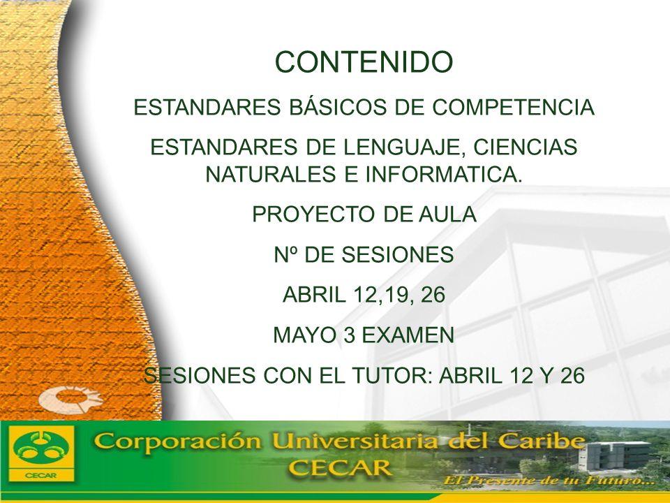 CONTENIDO ESTANDARES BÁSICOS DE COMPETENCIA