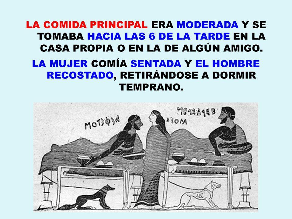 LA COMIDA PRINCIPAL ERA MODERADA Y SE TOMABA HACIA LAS 6 DE LA TARDE EN LA CASA PROPIA O EN LA DE ALGÚN AMIGO.