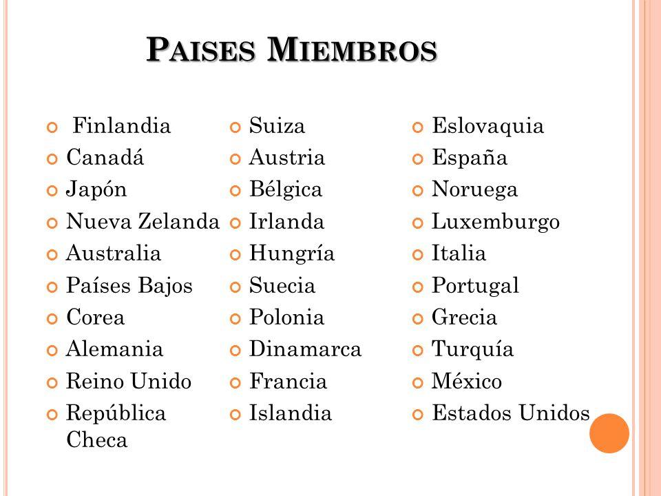 Paises Miembros Finlandia Suiza Eslovaquia Canadá Austria España Japón