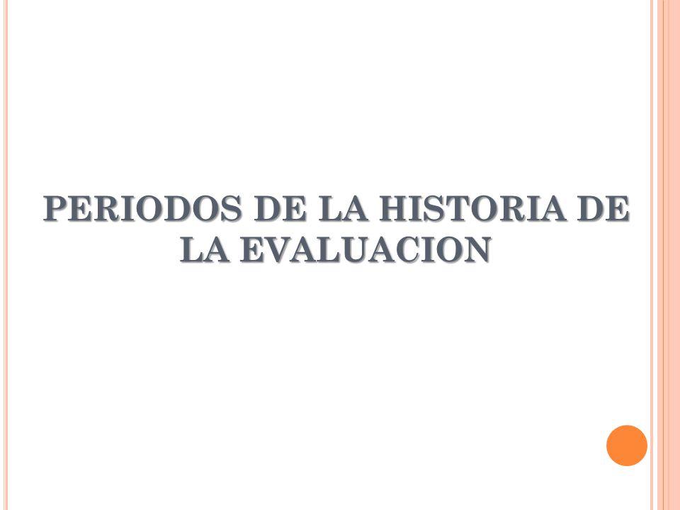 PERIODOS DE LA HISTORIA DE LA EVALUACION