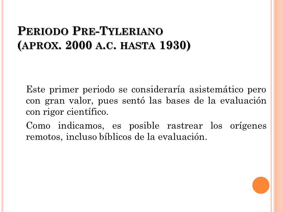 Periodo Pre-Tyleriano (aprox. 2000 a.c. hasta 1930)