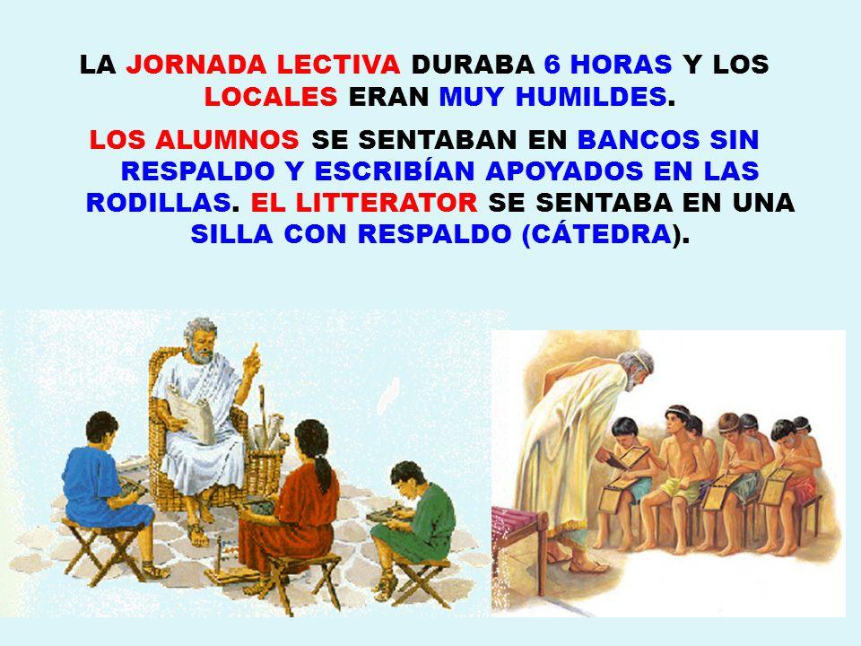 LA JORNADA LECTIVA DURABA 6 HORAS Y LOS LOCALES ERAN MUY HUMILDES.