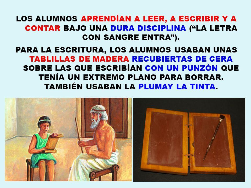 LOS ALUMNOS APRENDÍAN A LEER, A ESCRIBIR Y A CONTAR BAJO UNA DURA DISCIPLINA ( LA LETRA CON SANGRE ENTRA ).