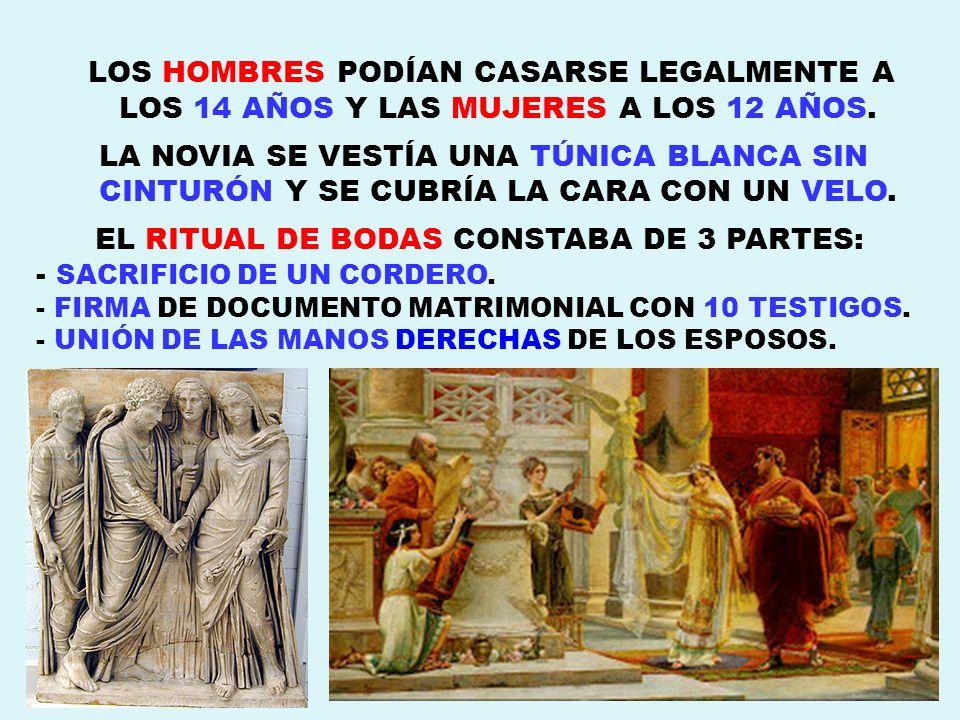 EL RITUAL DE BODAS CONSTABA DE 3 PARTES: