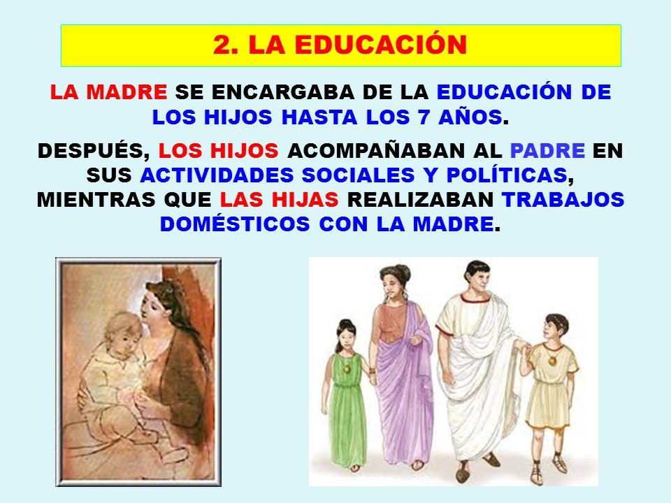 LA MADRE SE ENCARGABA DE LA EDUCACIÓN DE LOS HIJOS HASTA LOS 7 AÑOS.