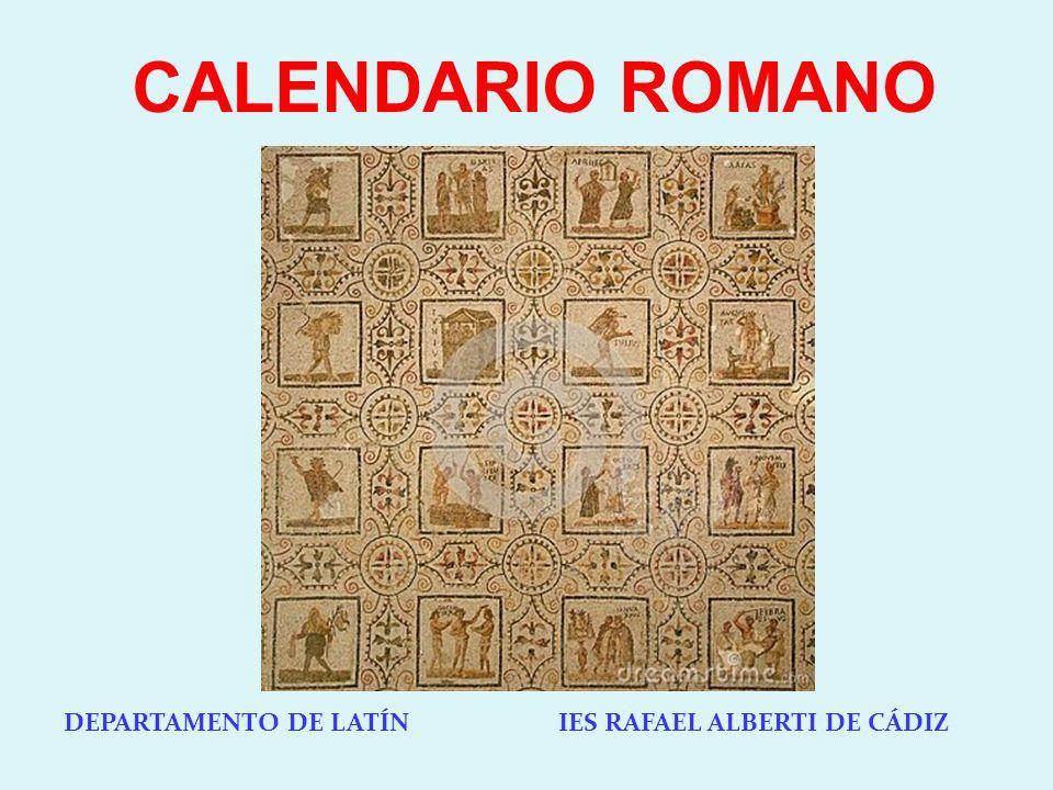 CALENDARIO ROMANO DEPARTAMENTO DE LATÍN IES RAFAEL ALBERTI DE CÁDIZ