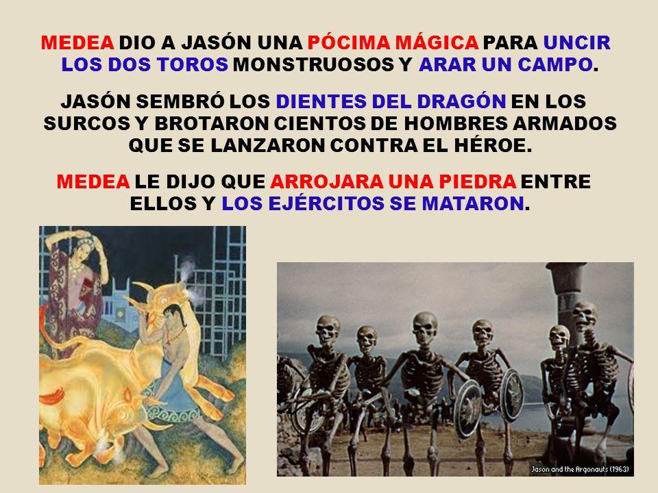 MEDEA DIO A JASÓN UNA PÓCIMA MÁGICA PARA UNCIR LOS DOS TOROS MONSTRUOSOS Y ARAR UN CAMPO.