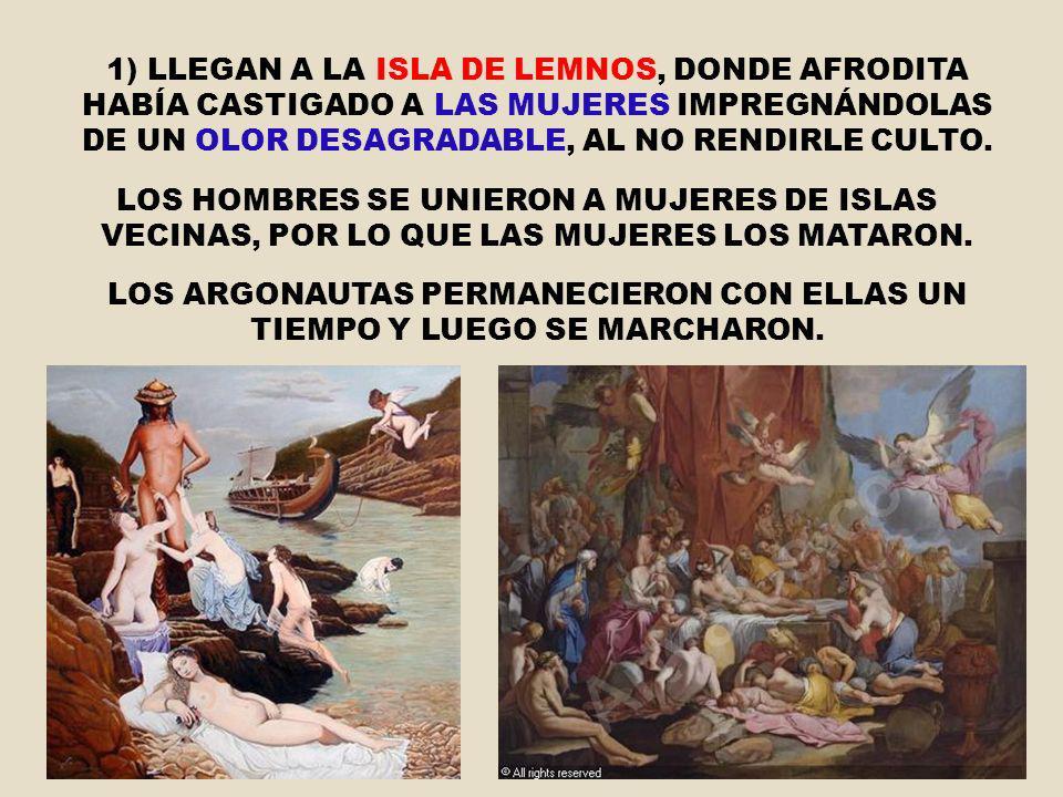 LOS ARGONAUTAS PERMANECIERON CON ELLAS UN TIEMPO Y LUEGO SE MARCHARON.