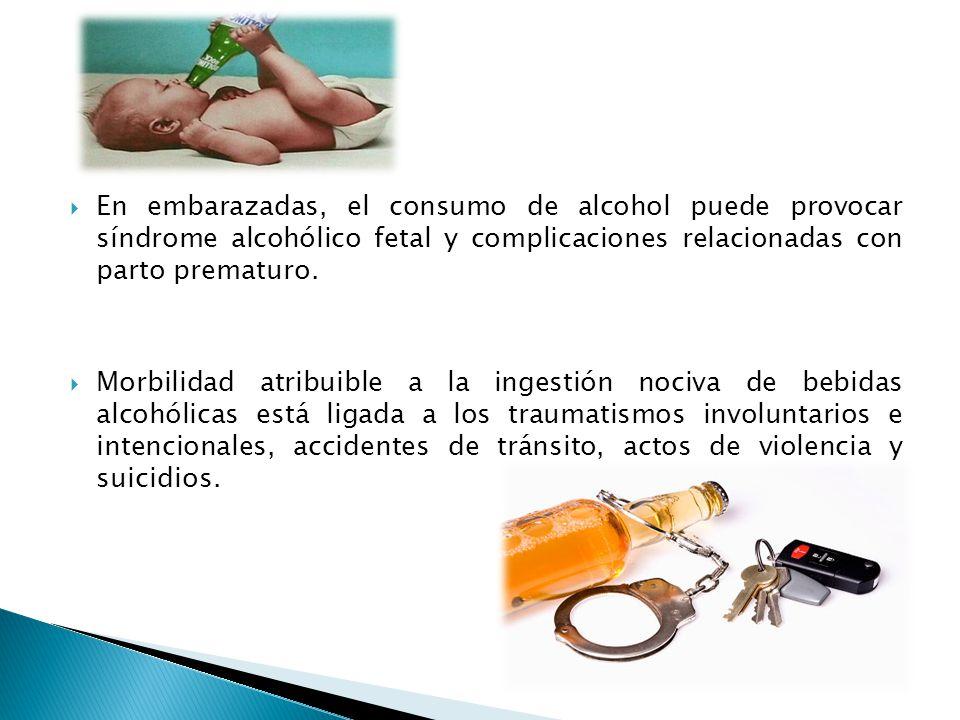 En embarazadas, el consumo de alcohol puede provocar síndrome alcohólico fetal y complicaciones relacionadas con parto prematuro.