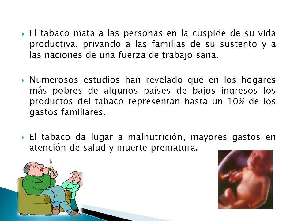 El tabaco mata a las personas en la cúspide de su vida productiva, privando a las familias de su sustento y a las naciones de una fuerza de trabajo sana.