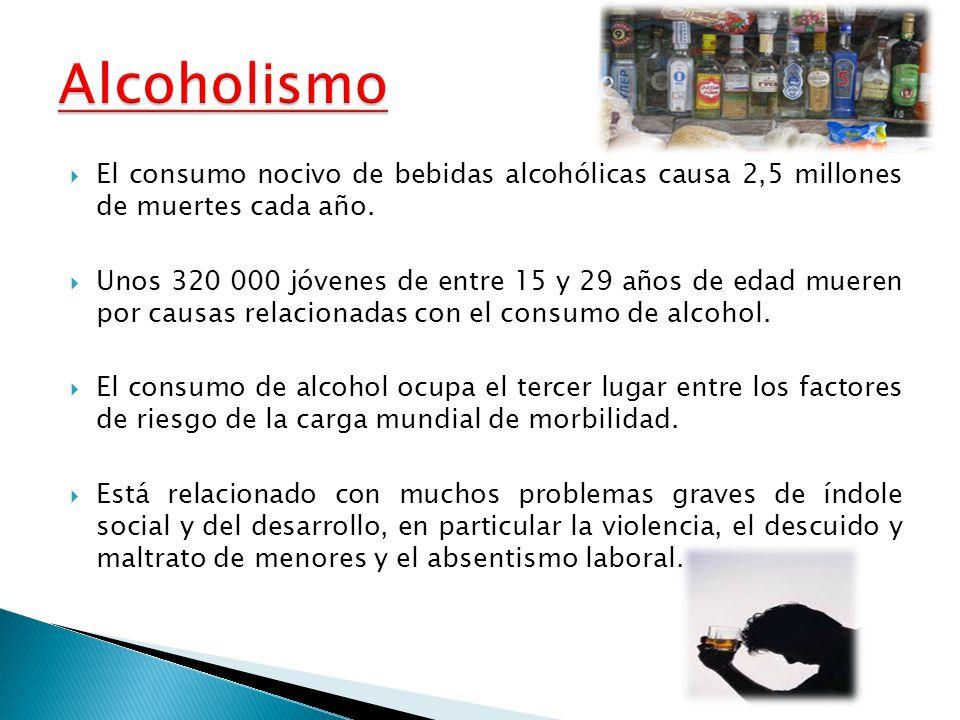 Alcoholismo El consumo nocivo de bebidas alcohólicas causa 2,5 millones de muertes cada año.