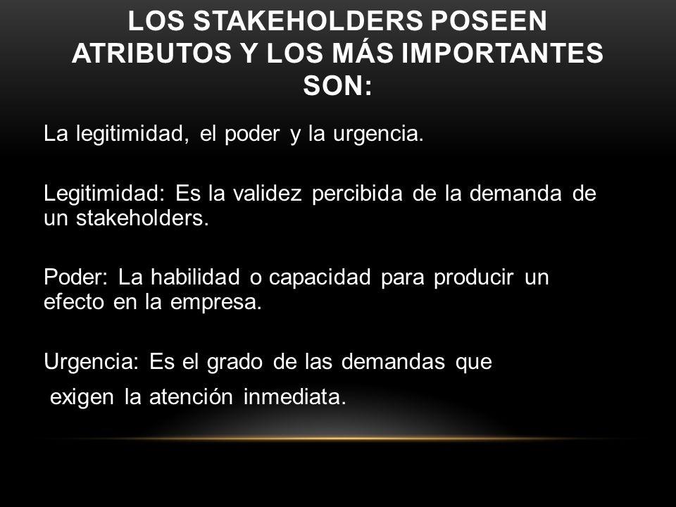 LOS STAKEHOLDERS POSEEN ATRIBUTOS Y LOS MÁS IMPORTANTES SON: