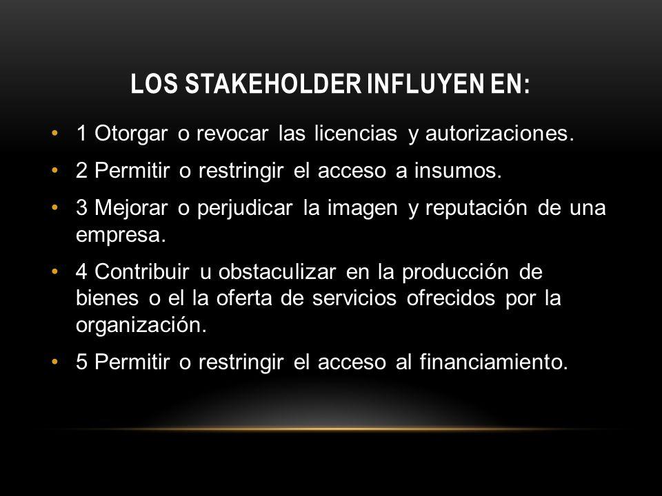 LOS STAKEHOLDER INFLUYEN EN:
