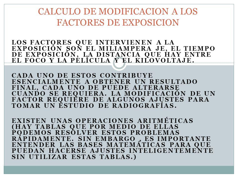 CALCULO DE MODIFICACION A LOS FACTORES DE EXPOSICION