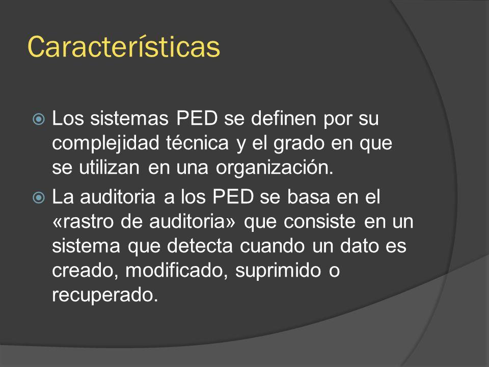 Características Los sistemas PED se definen por su complejidad técnica y el grado en que se utilizan en una organización.