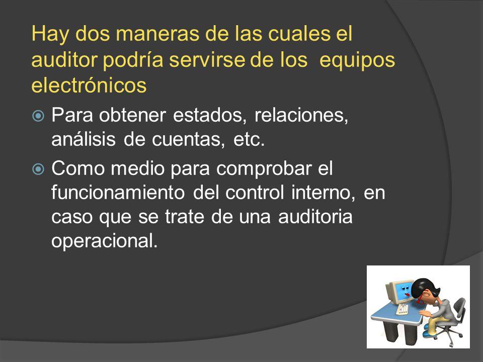 Hay dos maneras de las cuales el auditor podría servirse de los equipos electrónicos