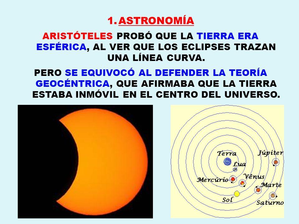 ASTRONOMÍA ARISTÓTELES PROBÓ QUE LA TIERRA ERA ESFÉRICA, AL VER QUE LOS ECLIPSES TRAZAN UNA LÍNEA CURVA.