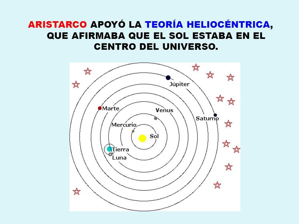 ARISTARCO APOYÓ LA TEORÍA HELIOCÉNTRICA, QUE AFIRMABA QUE EL SOL ESTABA EN EL CENTRO DEL UNIVERSO.