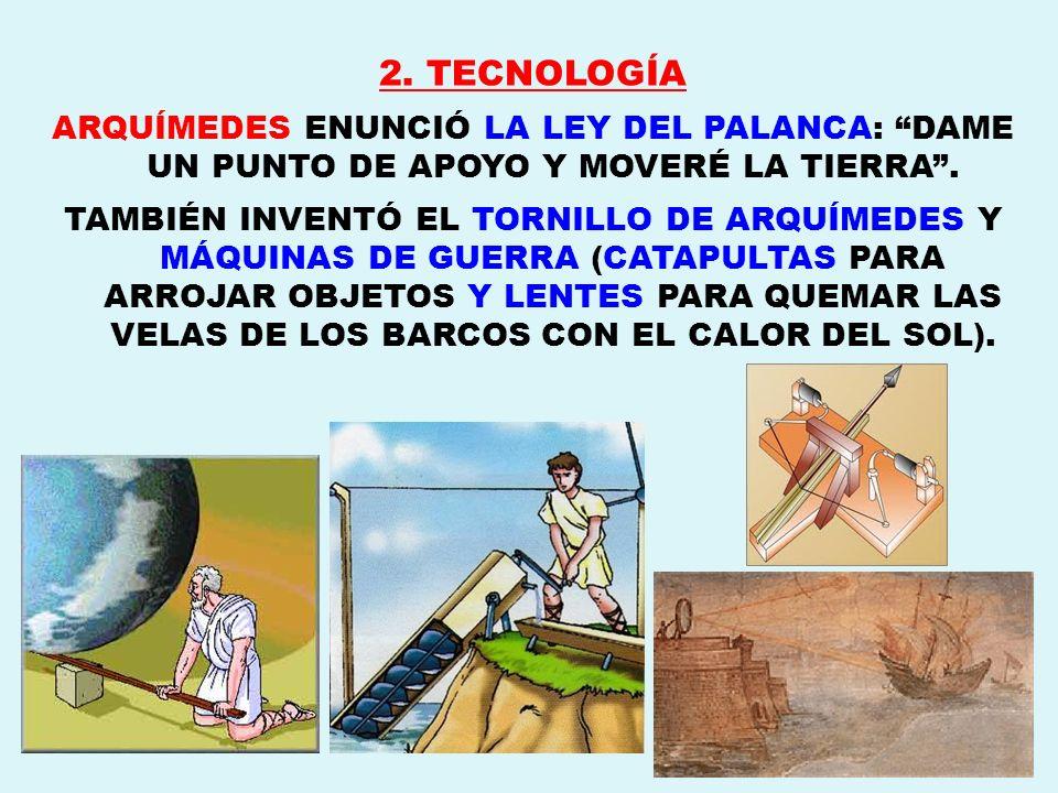 2. TECNOLOGÍA ARQUÍMEDES ENUNCIÓ LA LEY DEL PALANCA: DAME UN PUNTO DE APOYO Y MOVERÉ LA TIERRA .