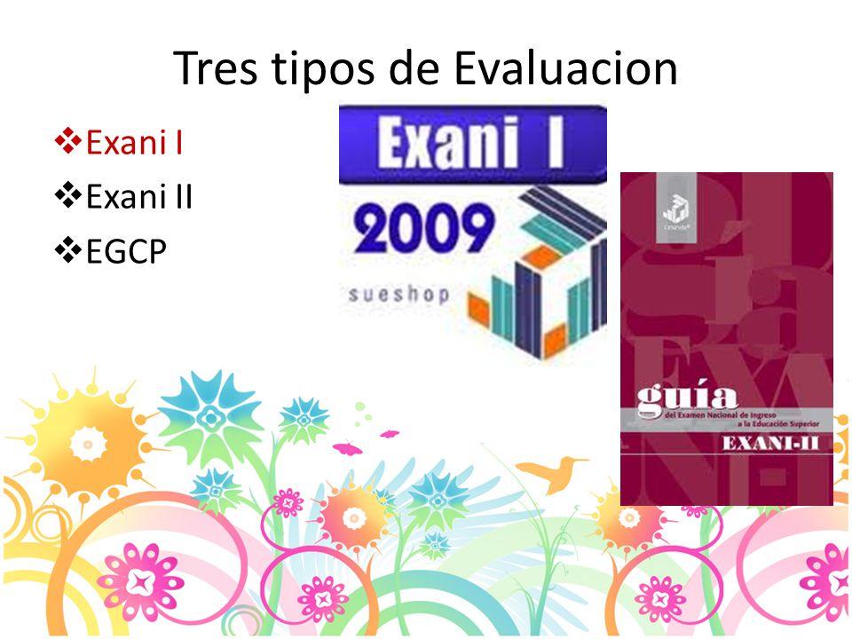 Tres tipos de Evaluacion