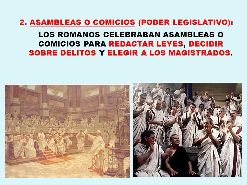 2. ASAMBLEAS O COMICIOS (PODER LEGISLATIVO):