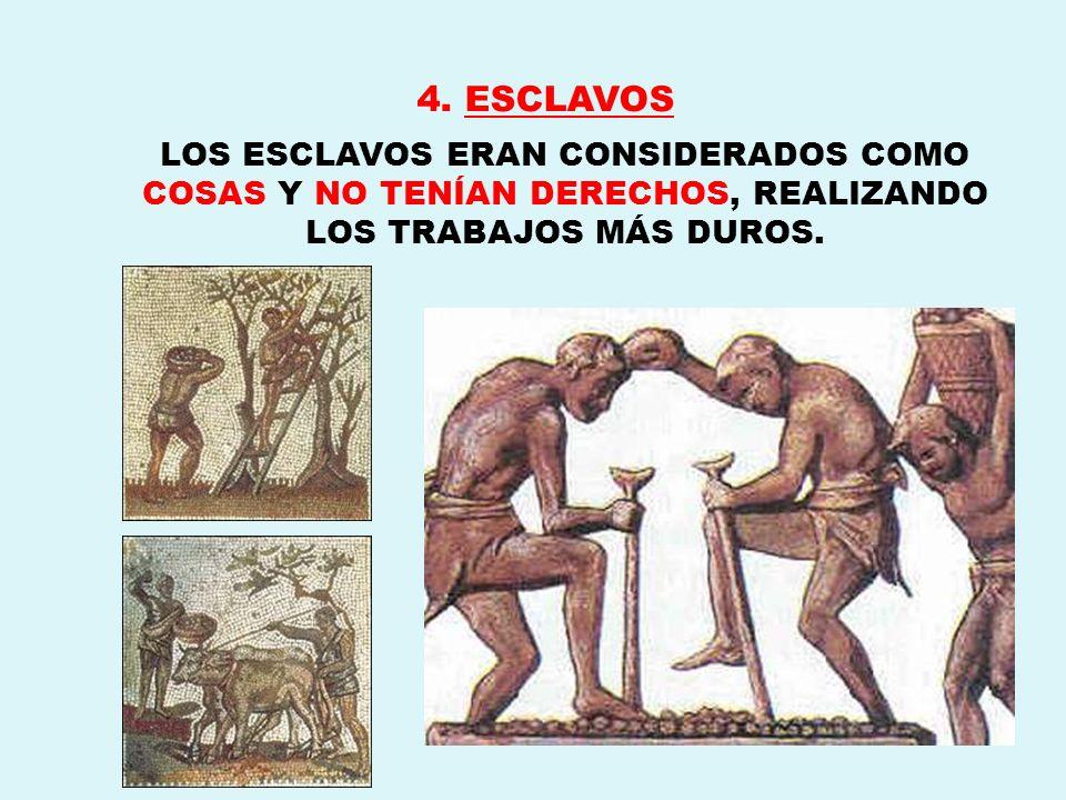 4. ESCLAVOS LOS ESCLAVOS ERAN CONSIDERADOS COMO COSAS Y NO TENÍAN DERECHOS, REALIZANDO LOS TRABAJOS MÁS DUROS.