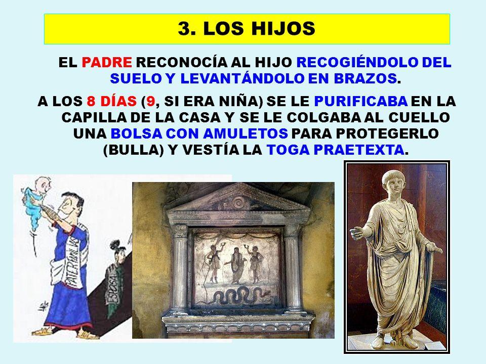 3. LOS HIJOSEL PADRE RECONOCÍA AL HIJO RECOGIÉNDOLO DEL SUELO Y LEVANTÁNDOLO EN BRAZOS.