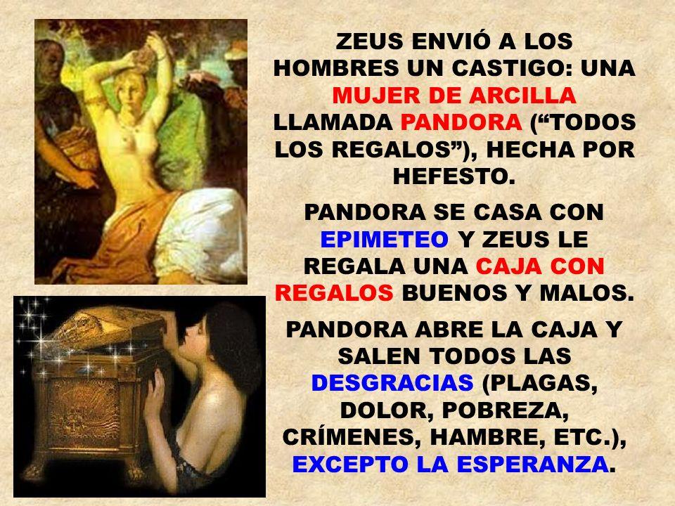 ZEUS ENVIÓ A LOS HOMBRES UN CASTIGO: UNA MUJER DE ARCILLA LLAMADA PANDORA ( TODOS LOS REGALOS ), HECHA POR HEFESTO.