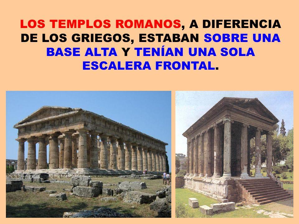LOS TEMPLOS ROMANOS, A DIFERENCIA DE LOS GRIEGOS, ESTABAN SOBRE UNA BASE ALTA Y TENÍAN UNA SOLA ESCALERA FRONTAL.
