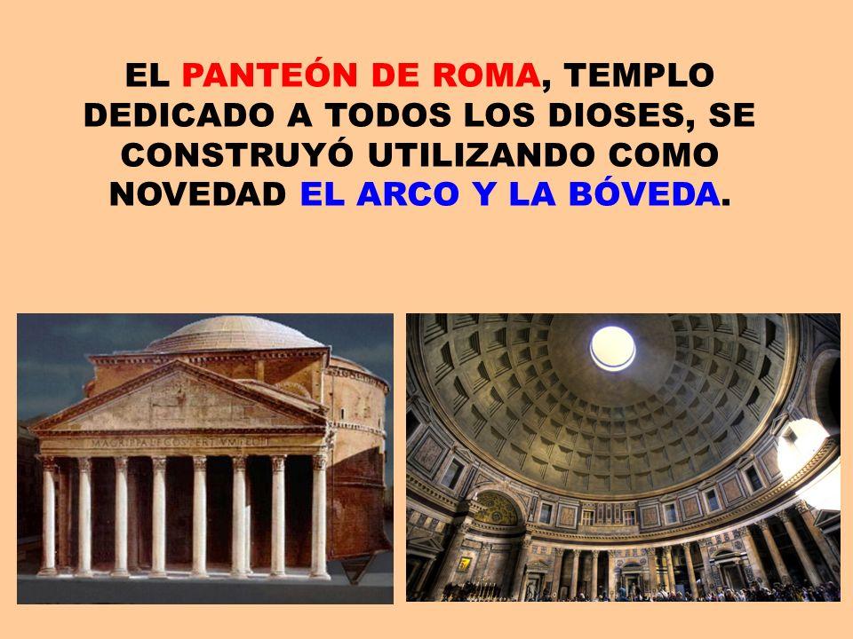 EL PANTEÓN DE ROMA, TEMPLO DEDICADO A TODOS LOS DIOSES, SE CONSTRUYÓ UTILIZANDO COMO NOVEDAD EL ARCO Y LA BÓVEDA.