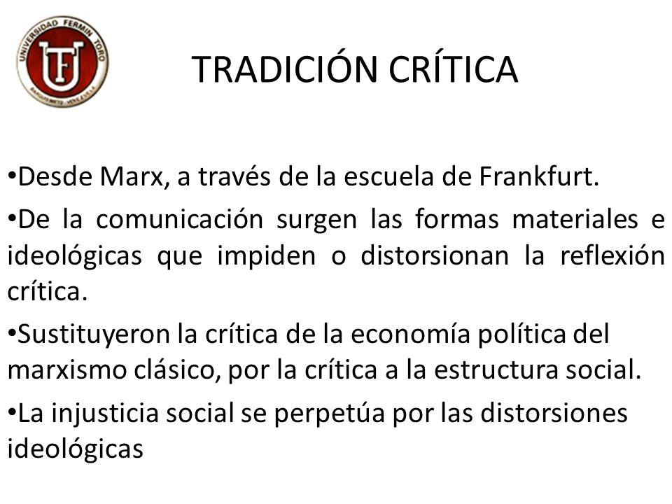 TRADICIÓN CRÍTICA Desde Marx, a través de la escuela de Frankfurt.