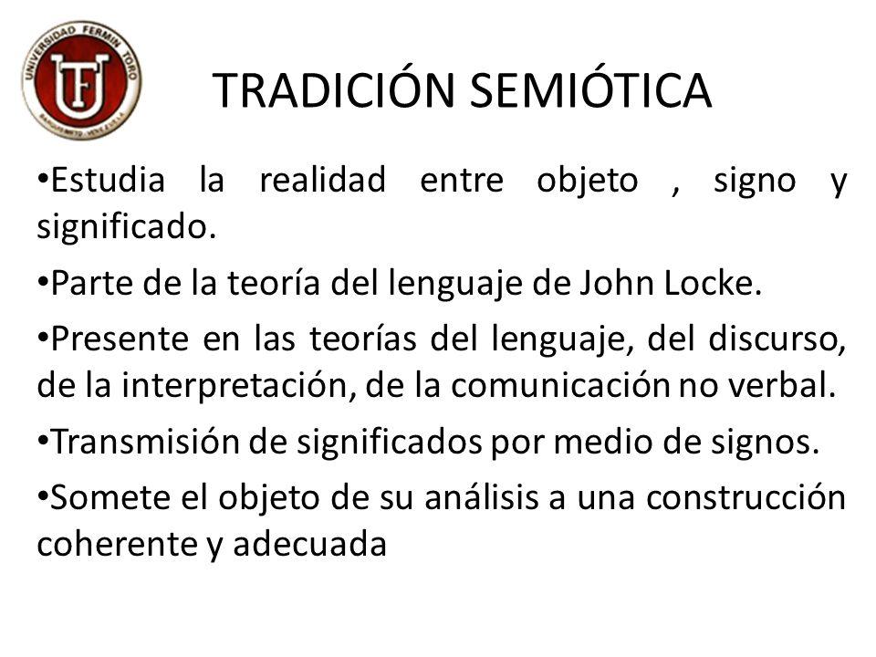 TRADICIÓN SEMIÓTICA Estudia la realidad entre objeto , signo y significado. Parte de la teoría del lenguaje de John Locke.