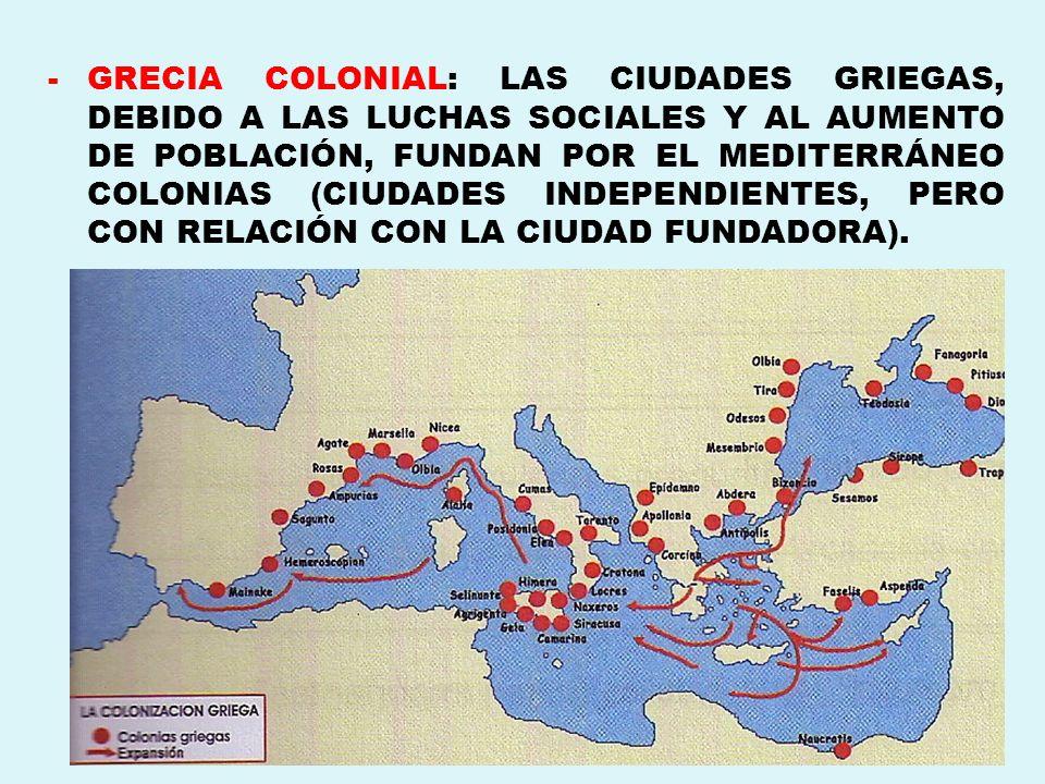 GRECIA COLONIAL: LAS CIUDADES GRIEGAS, DEBIDO A LAS LUCHAS SOCIALES Y AL AUMENTO DE POBLACIÓN, FUNDAN POR EL MEDITERRÁNEO COLONIAS (CIUDADES INDEPENDIENTES, PERO CON RELACIÓN CON LA CIUDAD FUNDADORA).