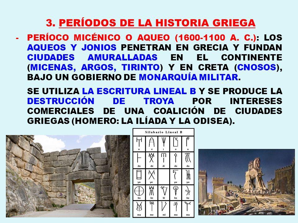 3. PERÍODOS DE LA HISTORIA GRIEGA