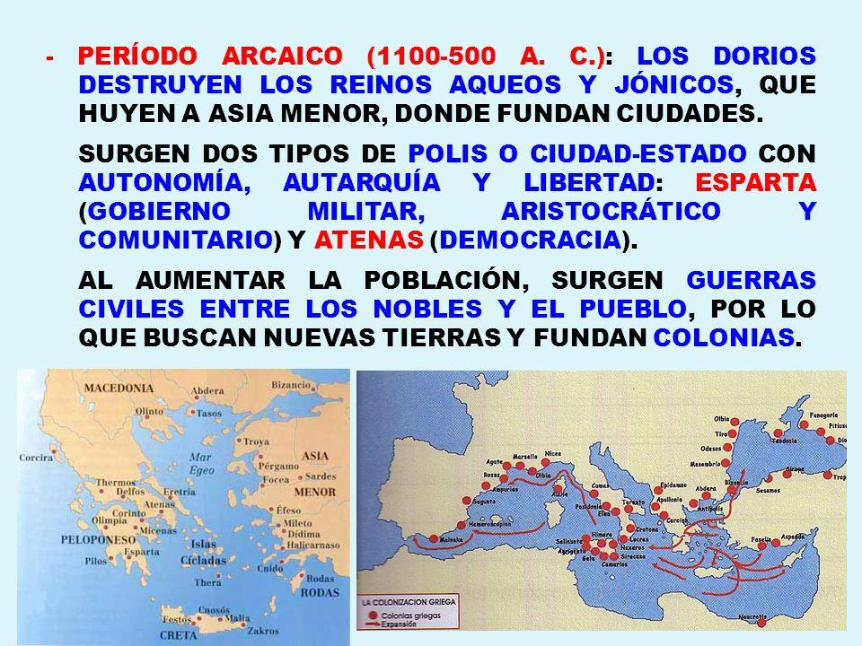 - PERÍODO ARCAICO (1100-500 A. C.): LOS DORIOS DESTRUYEN LOS REINOS AQUEOS Y JÓNICOS, QUE HUYEN A ASIA MENOR, DONDE FUNDAN CIUDADES.