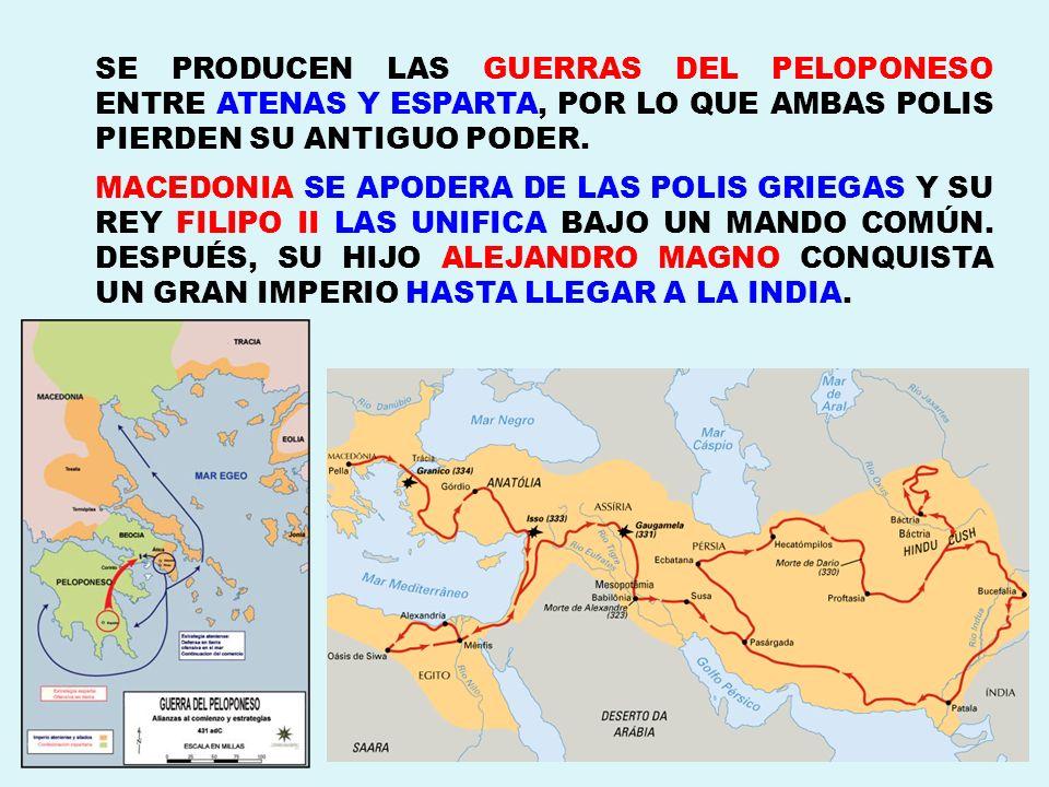 SE PRODUCEN LAS GUERRAS DEL PELOPONESO ENTRE ATENAS Y ESPARTA, POR LO QUE AMBAS POLIS PIERDEN SU ANTIGUO PODER.