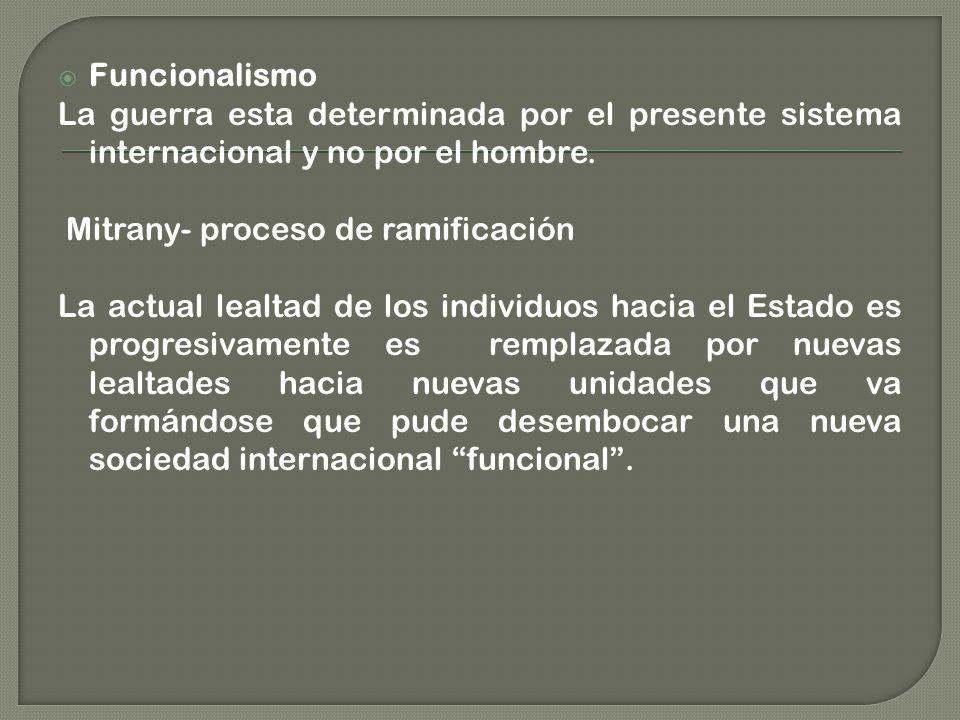 Funcionalismo La guerra esta determinada por el presente sistema internacional y no por el hombre. Mitrany- proceso de ramificación.