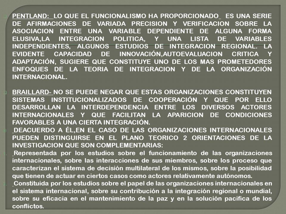 PENTLAND: LO QUE EL FUNCIONALISMO HA PROPORCIONADO ES UNA SERIE DE AFIRMACIONES DE VARIADA PRECISION Y VERIFICACION SOBRE LA ASOCIACION ENTRE UNA VARIABLE DEPENDIENTE DE ALGUNA FORMA ELUSIVA,LA INTEGRACION POLITICA, Y UNA LISTA DE VARIABLES INDEPENDIENTES, ALGUNOS ESTUDIOS DE INTEGRACION REGIONAL. LA EVIDENTE CAPACIDAD DE INNOVACIÓN,AUTOEVALUACION CRITICA Y ADAPTACIÓN, SUGIERE QUE CONSTITUYE UNO DE LOS MAS PROMETEDORES ENFOQUES DE LA TEORIA DE INTEGRACION Y DE LA ORGANIZACIÓN INTERNACIONAL.